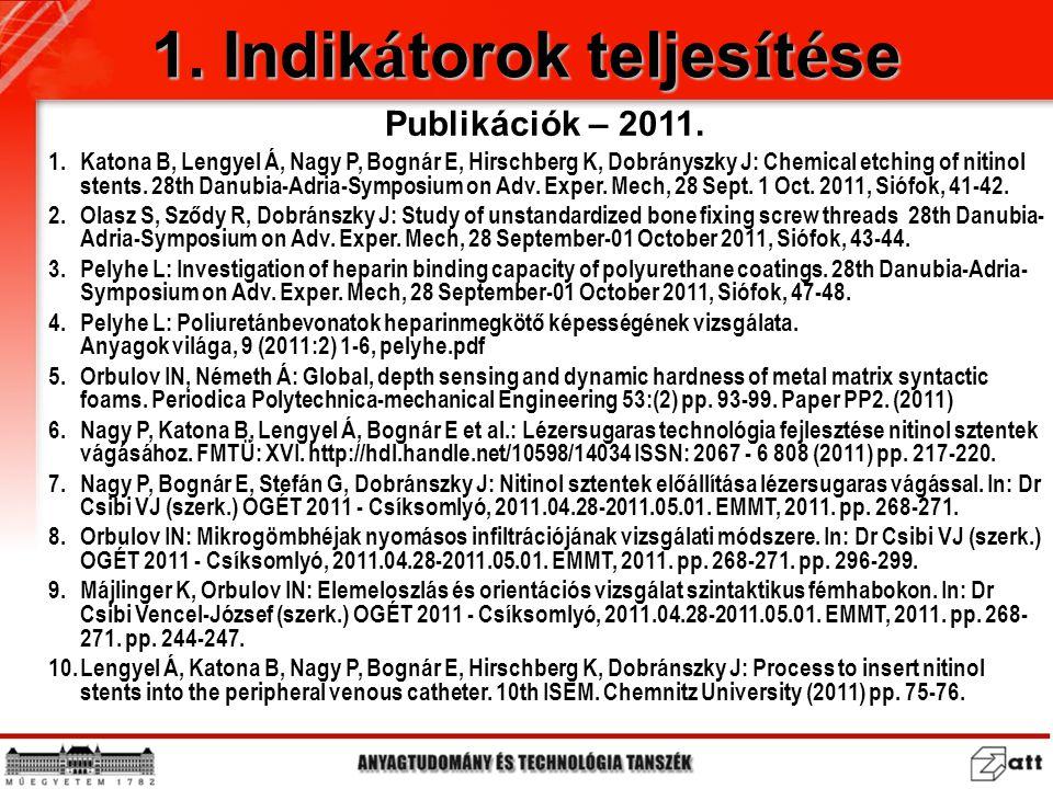 1.Katona B, Lengyel Á, Nagy P, Bognár E, Hirschberg K, Dobrányszky J: Chemical etching of nitinol stents. 28th Danubia-Adria-Symposium on Adv. Exper.
