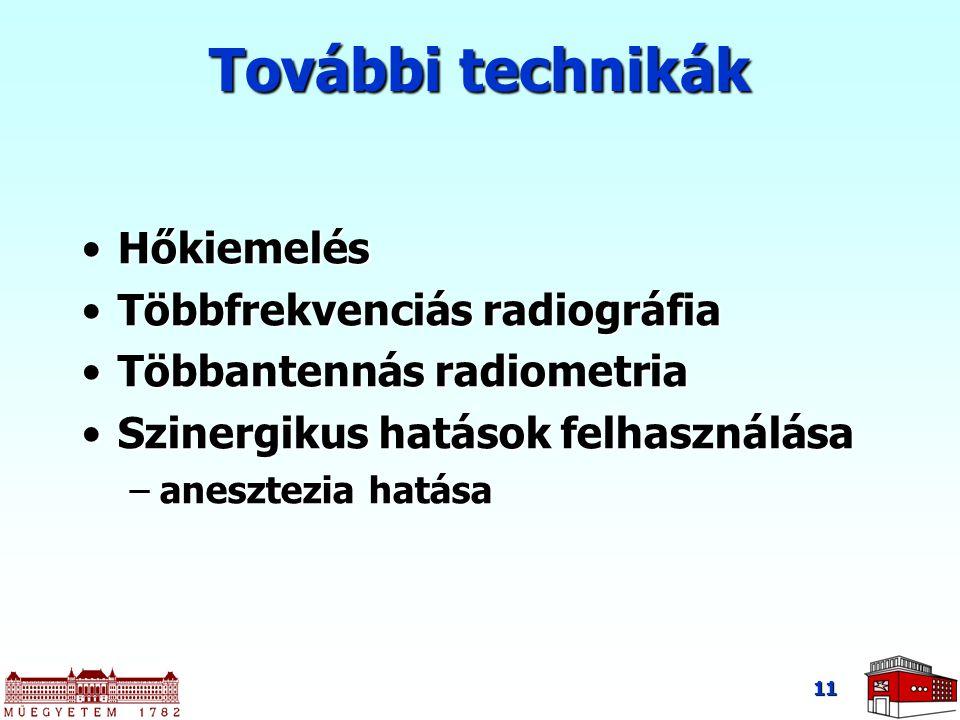 11 További technikák HőkiemelésHőkiemelés Többfrekvenciás radiográfiaTöbbfrekvenciás radiográfia Többantennás radiometriaTöbbantennás radiometria Szin