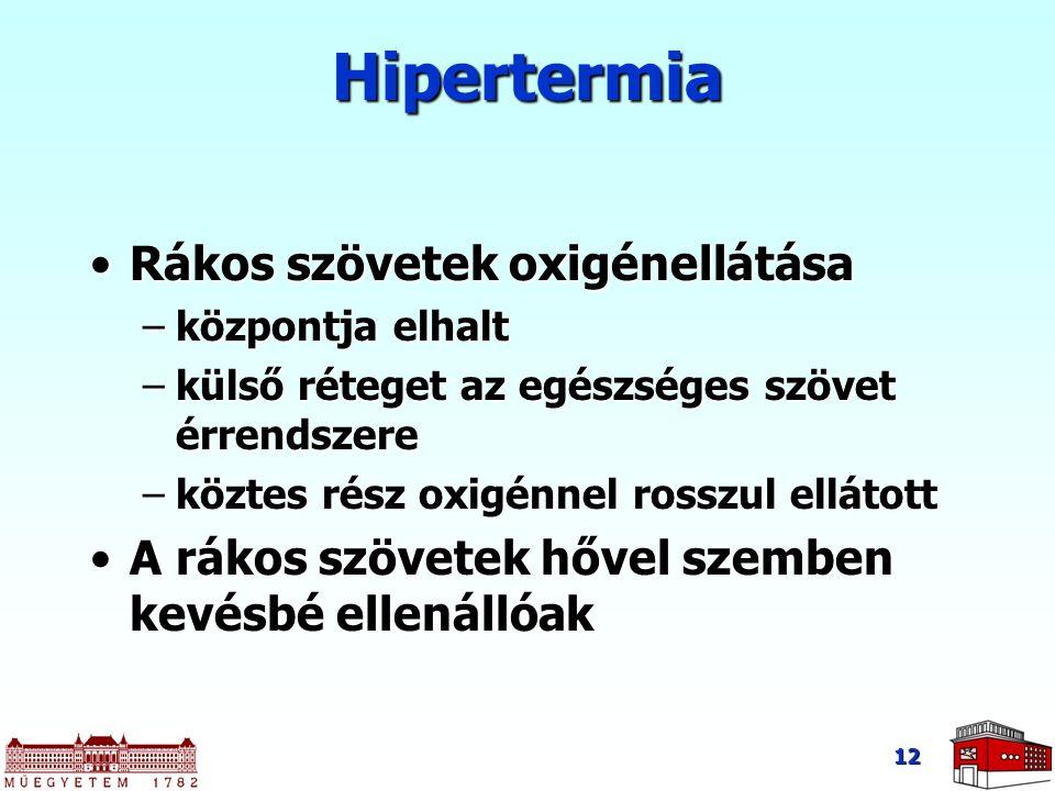 12 Hipertermia Rákos szövetek oxigénellátásaRákos szövetek oxigénellátása –központja elhalt –külső réteget az egészséges szövet érrendszere –köztes ré