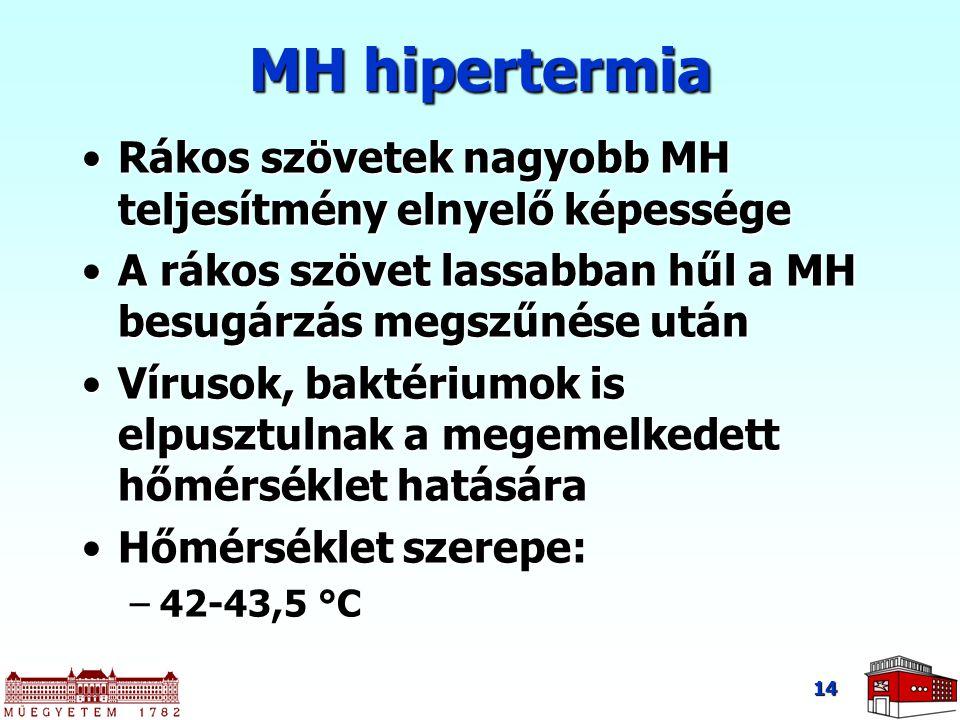 14 MH hipertermia Rákos szövetek nagyobb MH teljesítmény elnyelő képességeRákos szövetek nagyobb MH teljesítmény elnyelő képessége A rákos szövet lass
