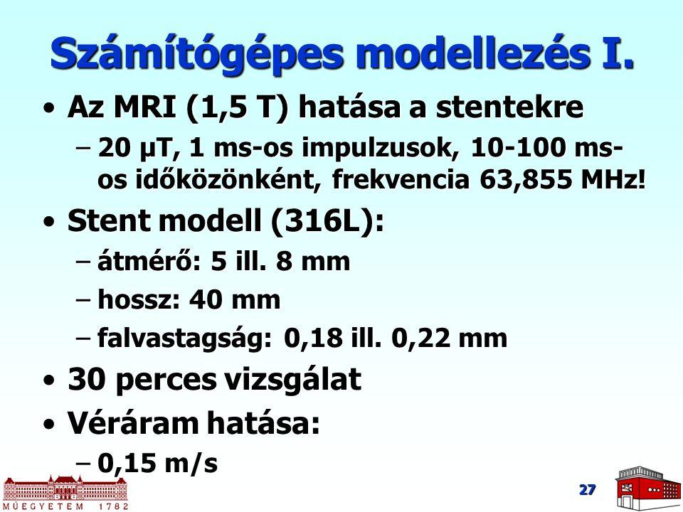 27 Számítógépes modellezés I. Az MRI (1,5 T) hatása a stentekreAz MRI (1,5 T) hatása a stentekre –20 μT, 1 ms-os impulzusok, 10-100 ms- os időközönkén