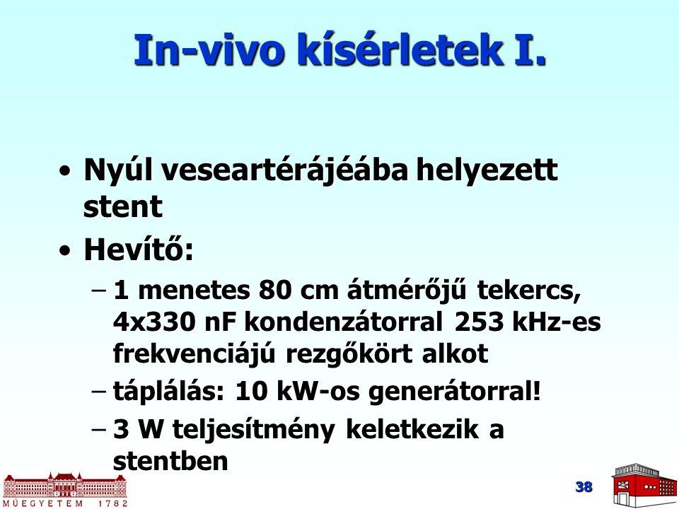 38 In-vivo kísérletek I. Nyúl veseartérájéába helyezett stentNyúl veseartérájéába helyezett stent Hevítő:Hevítő: –1 menetes 80 cm átmérőjű tekercs, 4x