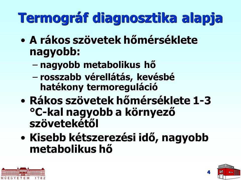4 Termográf diagnosztika alapja A rákos szövetek hőmérséklete nagyobb:A rákos szövetek hőmérséklete nagyobb: –nagyobb metabolikus hő –rosszabb vérellá