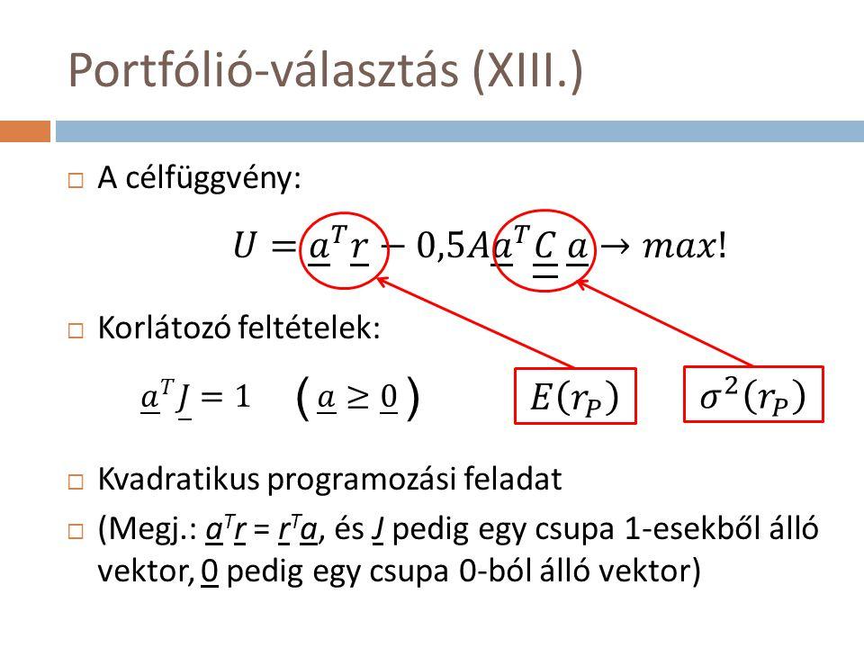 ( ) Portfólió-választás (XIII.)  A célfüggvény:  Korlátozó feltételek:  Kvadratikus programozási feladat  (Megj.: a T r = r T a, és J pedig egy csupa 1-esekből álló vektor, 0 pedig egy csupa 0-ból álló vektor)