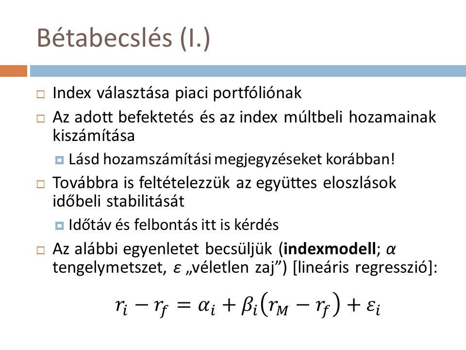 Bétabecslés (I.)  Index választása piaci portfóliónak  Az adott befektetés és az index múltbeli hozamainak kiszámítása  Lásd hozamszámítási megjegy