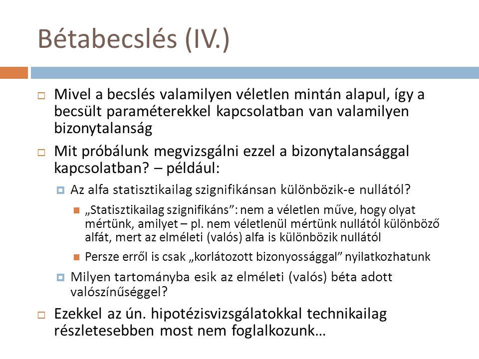 Bétabecslés (IV.)  Mivel a becslés valamilyen véletlen mintán alapul, így a becsült paraméterekkel kapcsolatban van valamilyen bizonytalanság  Mit p