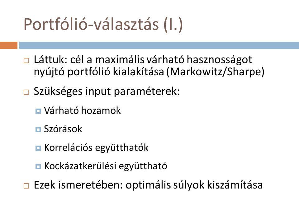 Portfólió-választás (II.)  Hogyan becsüljük a szükséges input paramétereket.