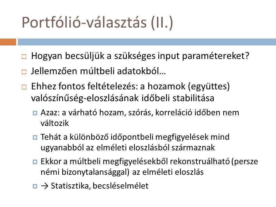 Portfólió-választás (II.)  Hogyan becsüljük a szükséges input paramétereket?  Jellemzően múltbeli adatokból…  Ehhez fontos feltételezés: a hozamok