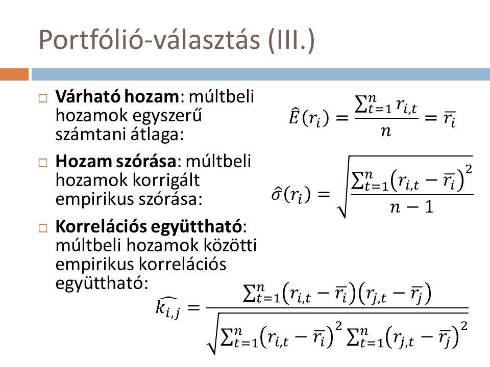 Portfólió-választás (III.)  Várható hozam: múltbeli hozamok egyszerű számtani átlaga:  Hozam szórása: múltbeli hozamok korrigált empirikus szórása:  Korrelációs együttható: múltbeli hozamok közötti empirikus korrelációs együttható: