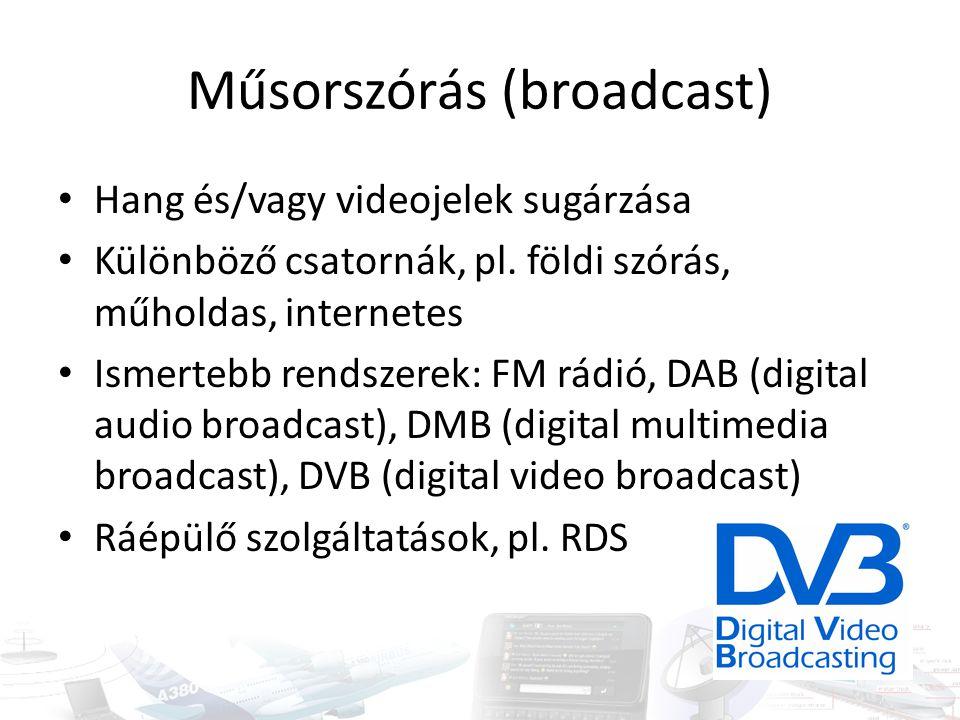 Műsorszórás (broadcast) Hang és/vagy videojelek sugárzása Különböző csatornák, pl. földi szórás, műholdas, internetes Ismertebb rendszerek: FM rádió,