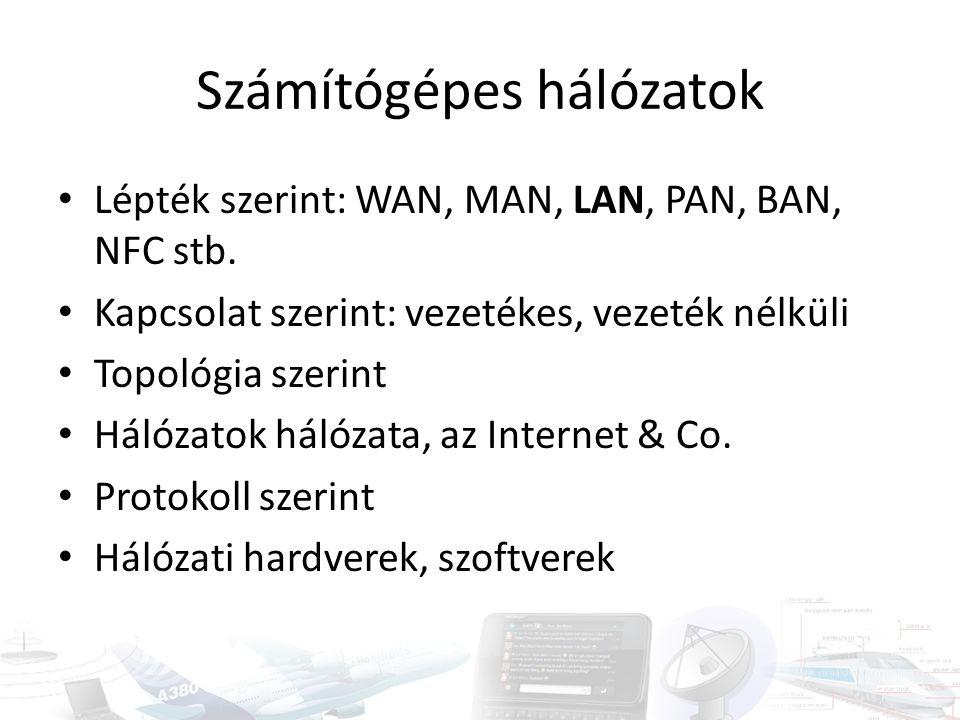 Számítógépes hálózatok Lépték szerint: WAN, MAN, LAN, PAN, BAN, NFC stb. Kapcsolat szerint: vezetékes, vezeték nélküli Topológia szerint Hálózatok hál