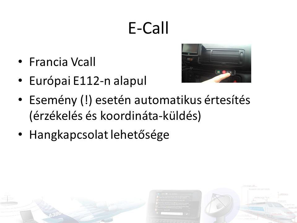 E-Call Francia Vcall Európai E112-n alapul Esemény (!) esetén automatikus értesítés (érzékelés és koordináta-küldés) Hangkapcsolat lehetősége