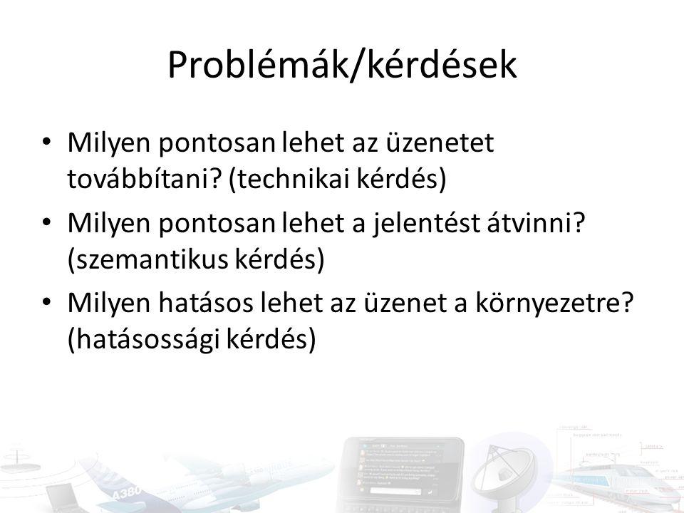 Problémák/kérdések Milyen pontosan lehet az üzenetet továbbítani? (technikai kérdés) Milyen pontosan lehet a jelentést átvinni? (szemantikus kérdés) M