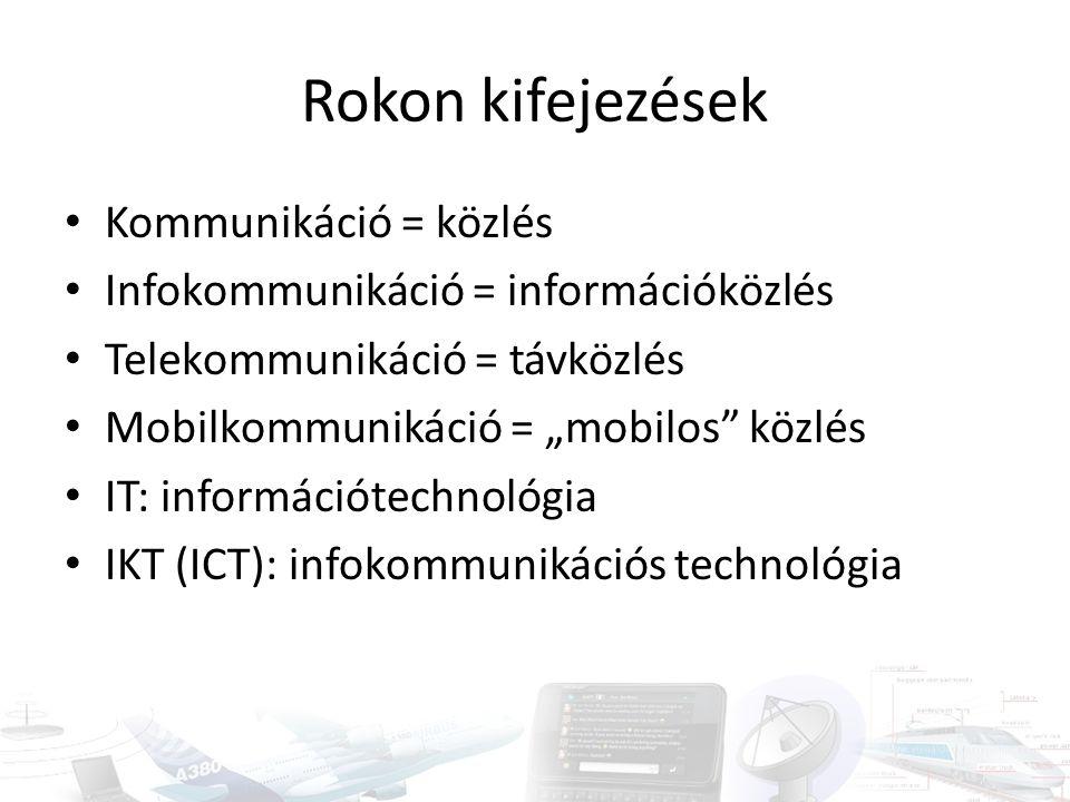 """Rokon kifejezések Kommunikáció = közlés Infokommunikáció = információközlés Telekommunikáció = távközlés Mobilkommunikáció = """"mobilos"""" közlés IT: info"""