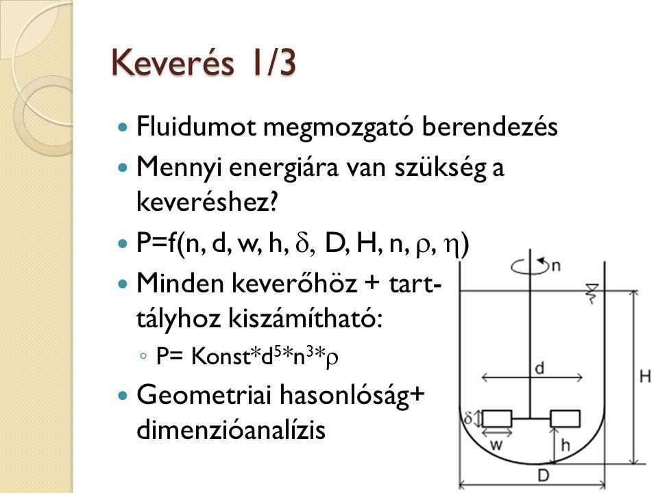 Keverés 1/3 Fluidumot megmozgató berendezés Mennyi energiára van szükség a keveréshez? P=f(n, d, w, h,  D, H, n, ,  ) Minden keverőhöz + tart- tál