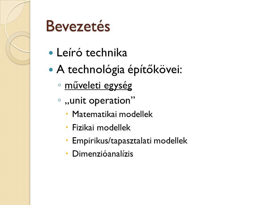 """Bevezetés Leíró technika A technológia építőkövei: ◦ műveleti egység ◦ """"unit operation""""  Matematikai modellek  Fizikai modellek  Empirikus/tapaszta"""