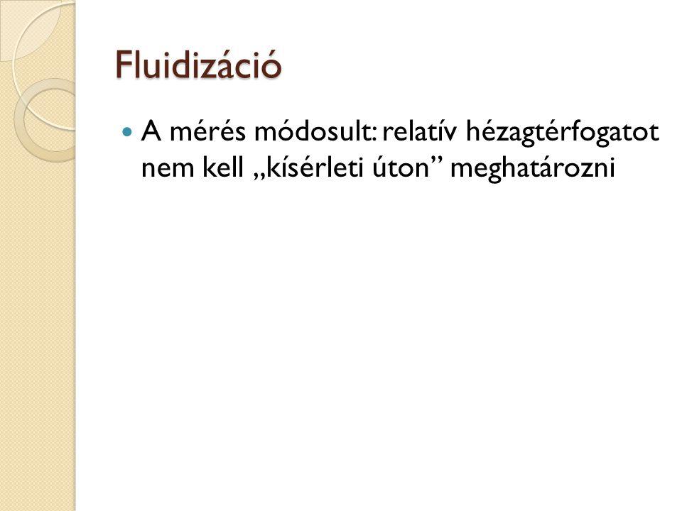 """Fluidizáció A mérés módosult: relatív hézagtérfogatot nem kell """"kísérleti úton"""" meghatározni"""