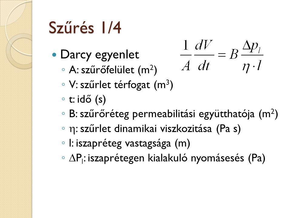 Szűrés 2/4 l/B helyett: ◦ : fajlagos iszapellenállás (m/kg) ◦ c: egységnyi szuszpenzióból felhalmozódó részecskék tömege (kg/m 3 ) Lepény ellenállása: Teljes ellenállás: Carman féle szűrési egyenlet:
