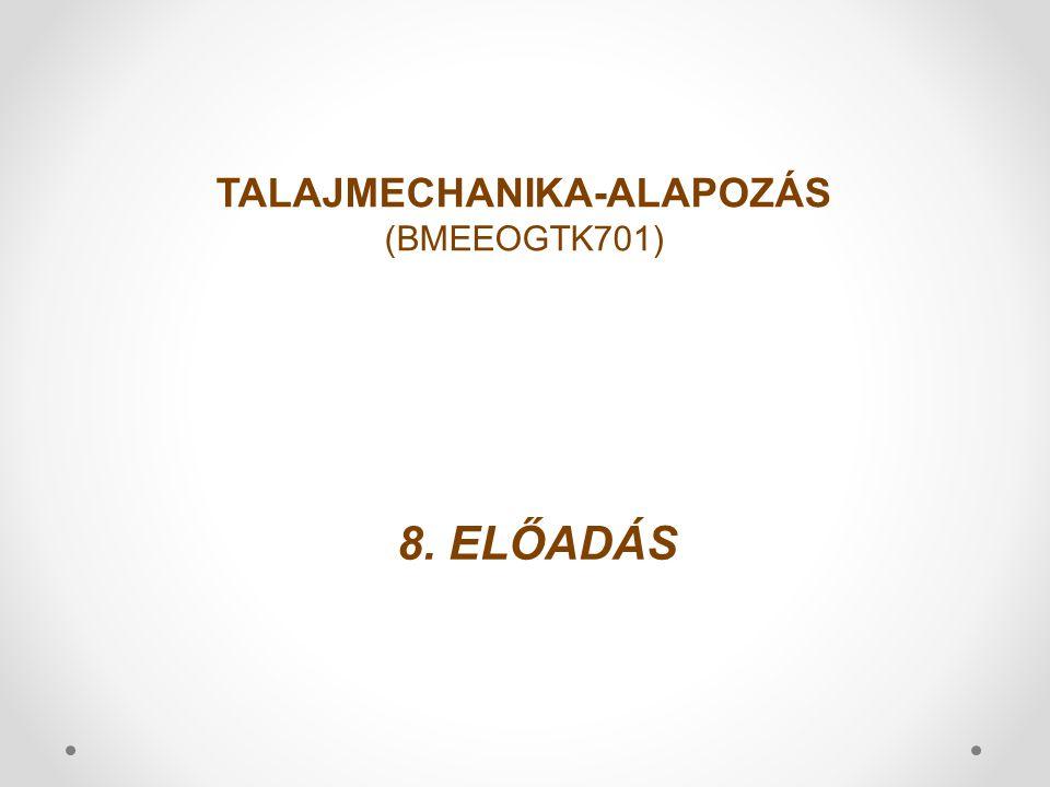 8. ELŐADÁS TALAJMECHANIKA-ALAPOZÁS (BMEEOGTK701)