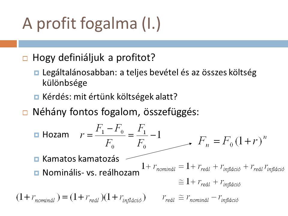 A profit fogalma (I.)  Hogy definiáljuk a profitot?  Legáltalánosabban: a teljes bevétel és az összes költség különbsége  Kérdés: mit értünk költsé