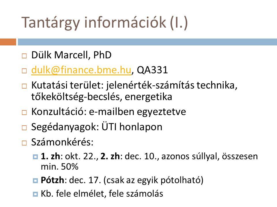Tantárgy információk (I.)  Dülk Marcell, PhD  dulk@finance.bme.hu, QA331 dulk@finance.bme.hu  Kutatási terület: jelenérték-számítás technika, tőkek