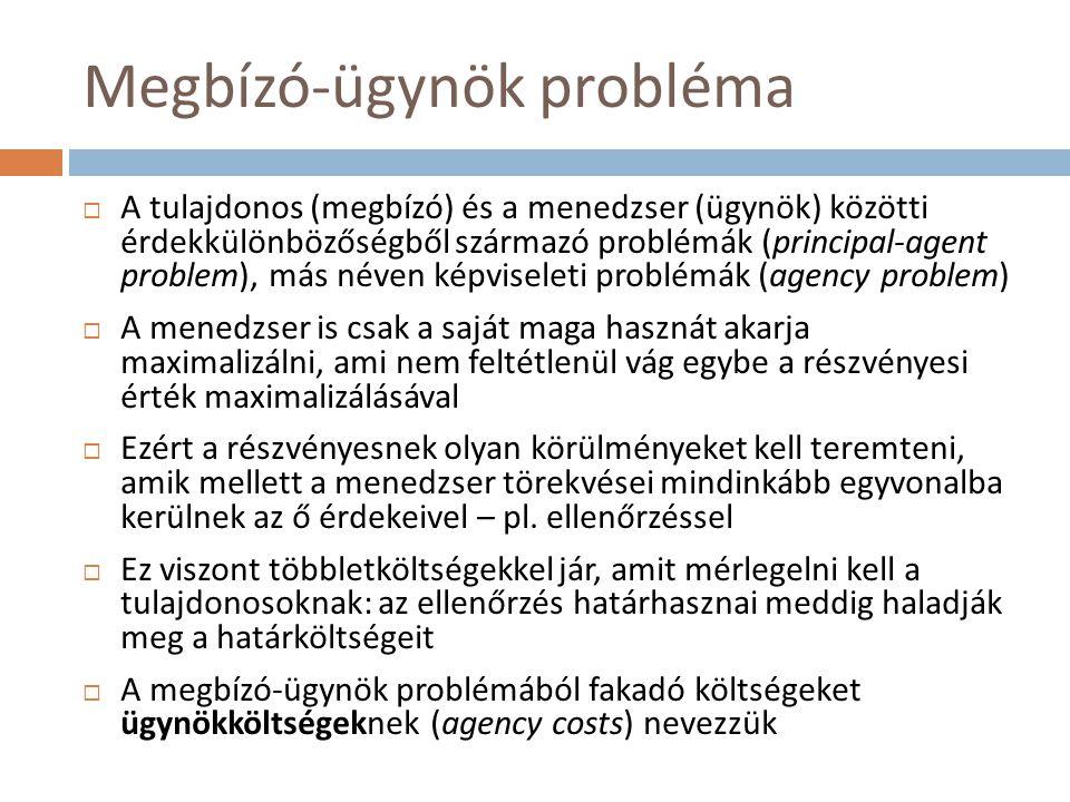 Megbízó-ügynök probléma  A tulajdonos (megbízó) és a menedzser (ügynök) közötti érdekkülönbözőségből származó problémák (principal-agent problem), má