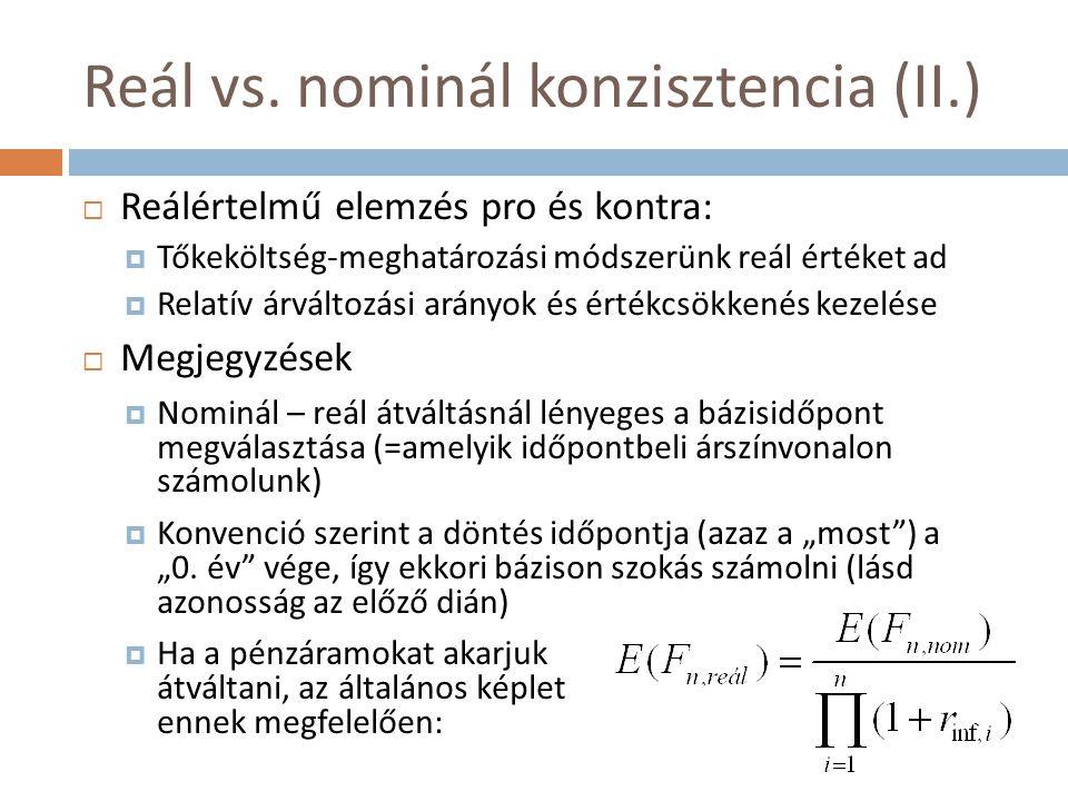 Reál vs. nominál konzisztencia (II.)  Reálértelmű elemzés pro és kontra:  Tőkeköltség-meghatározási módszerünk reál értéket ad  Relatív árváltozási