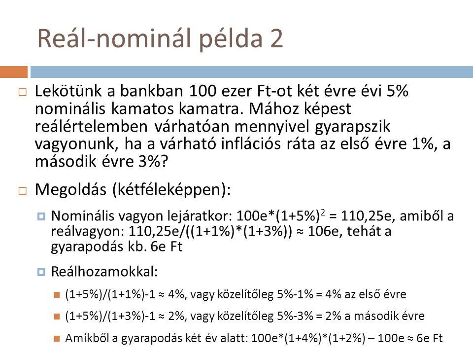 Reál-nominál példa 2  Lekötünk a bankban 100 ezer Ft-ot két évre évi 5% nominális kamatos kamatra. Mához képest reálértelemben várhatóan mennyivel gy