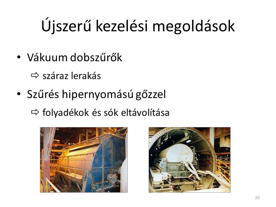 Újszerű kezelési megoldások Vákuum dobszűrők  száraz lerakás Szűrés hipernyomású gőzzel  folyadékok és sók eltávolítása 20