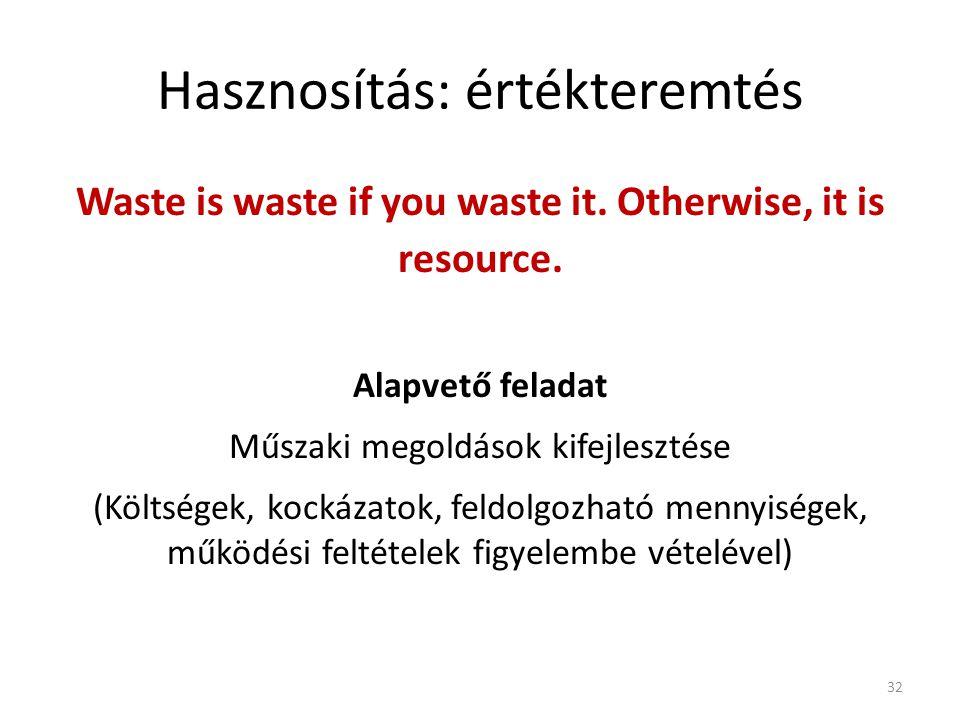 Hasznosítás: értékteremtés Waste is waste if you waste it. Otherwise, it is resource. Alapvető feladat Műszaki megoldások kifejlesztése (Költségek, ko