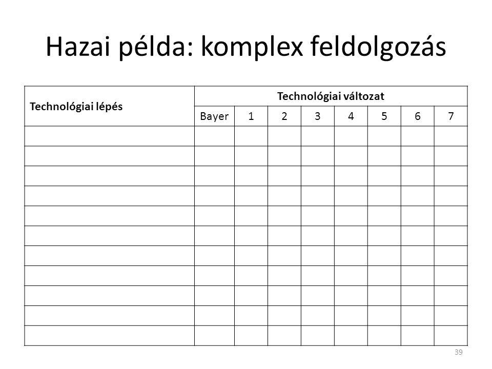 Hazai példa: komplex feldolgozás Technológiai lépés Technológiai változat Bayer1234567 39
