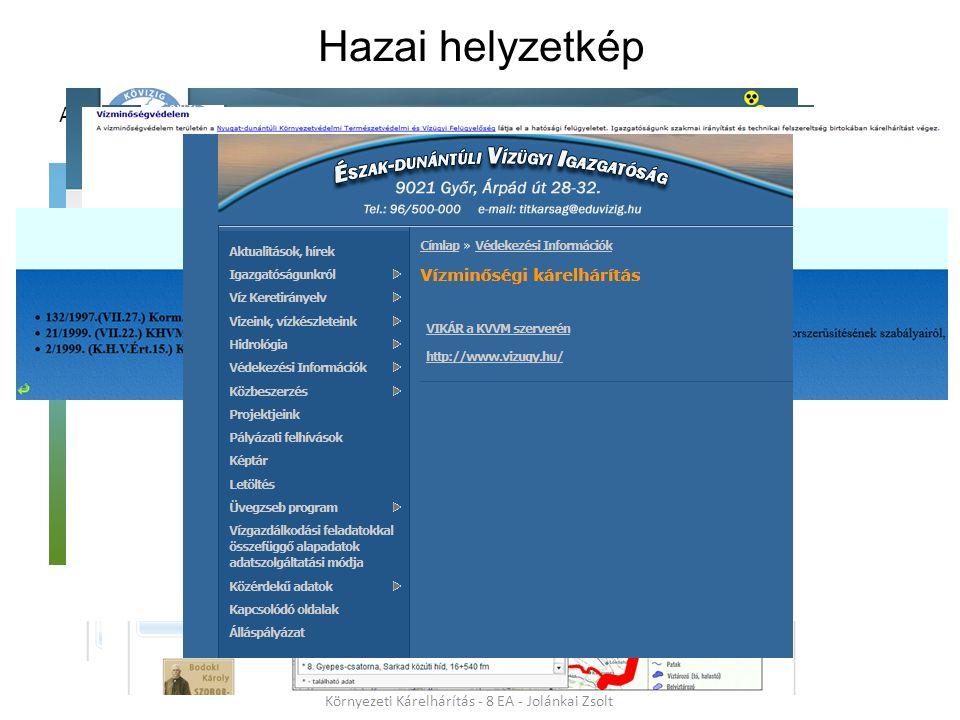 Aktuális honlapokról 10 Környezeti Kárelhárítás - 8 EA - Jolánkai Zsolt Hazai helyzetkép 1995