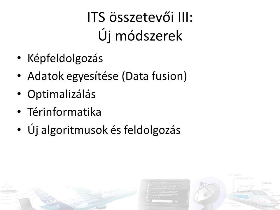 ITS összetevői III: Új módszerek Képfeldolgozás Adatok egyesítése (Data fusion) Optimalizálás Térinformatika Új algoritmusok és feldolgozás