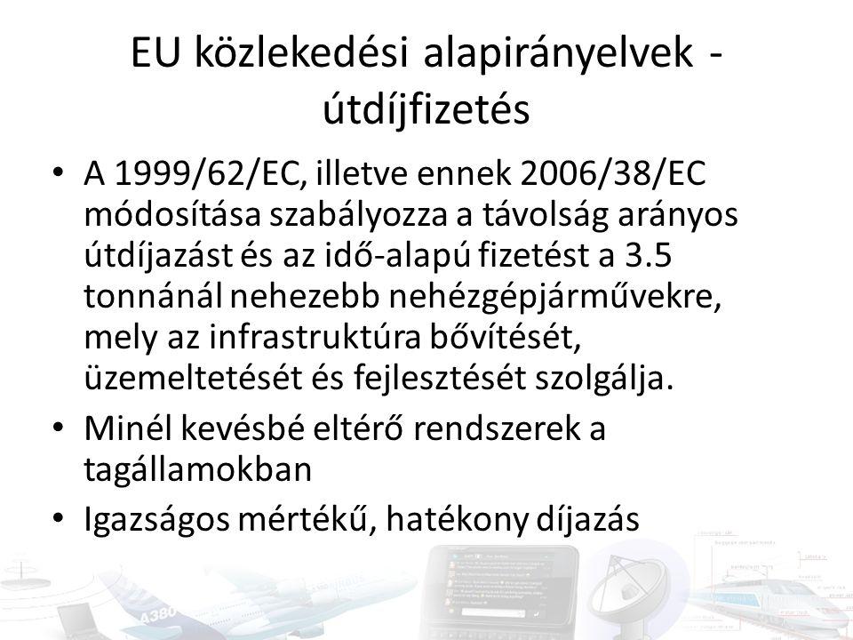 EU közlekedési alapirányelvek - útdíjfizetés A 1999/62/EC, illetve ennek 2006/38/EC módosítása szabályozza a távolság arányos útdíjazást és az idő-alapú fizetést a 3.5 tonnánál nehezebb nehézgépjárművekre, mely az infrastruktúra bővítését, üzemeltetését és fejlesztését szolgálja.