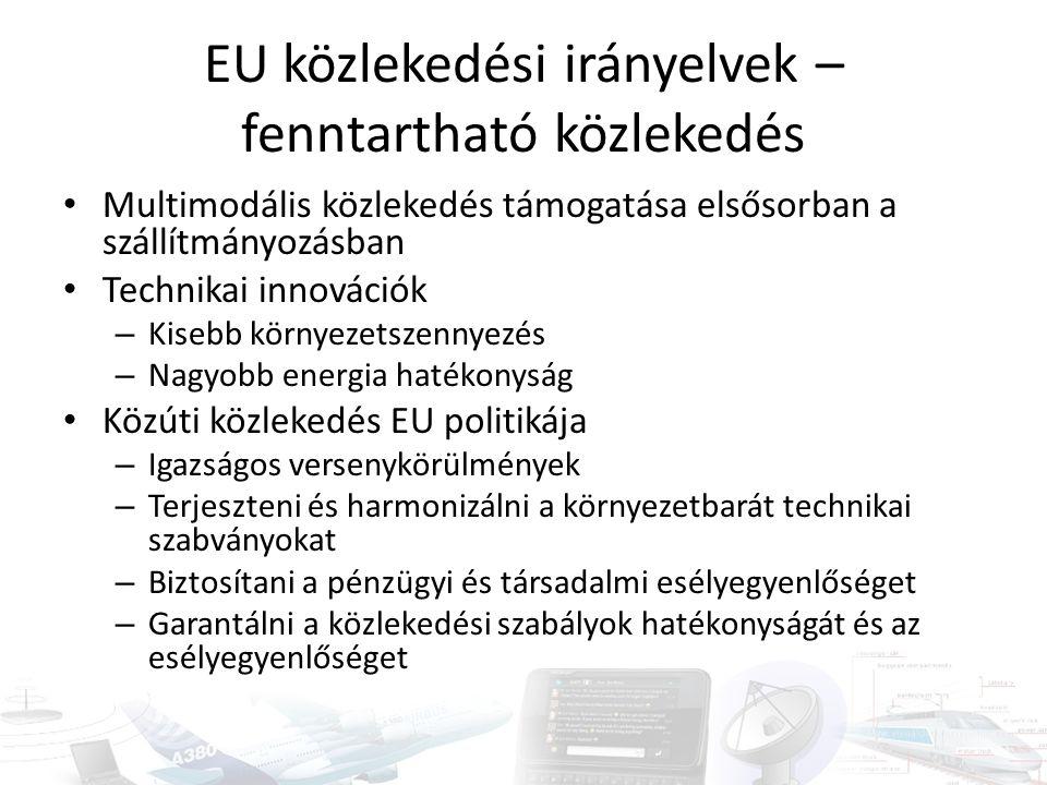 EU közlekedési irányelvek – fenntartható közlekedés Multimodális közlekedés támogatása elsősorban a szállítmányozásban Technikai innovációk – Kisebb környezetszennyezés – Nagyobb energia hatékonyság Közúti közlekedés EU politikája – Igazságos versenykörülmények – Terjeszteni és harmonizálni a környezetbarát technikai szabványokat – Biztosítani a pénzügyi és társadalmi esélyegyenlőséget – Garantálni a közlekedési szabályok hatékonyságát és az esélyegyenlőséget