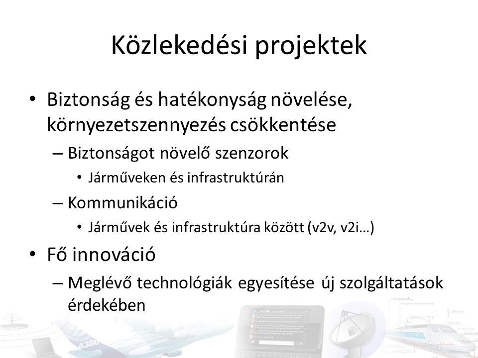 Közlekedési projektek Biztonság és hatékonyság növelése, környezetszennyezés csökkentése – Biztonságot növelő szenzorok Járműveken és infrastruktúrán – Kommunikáció Járművek és infrastruktúra között (v2v, v2i…) Fő innováció – Meglévő technológiák egyesítése új szolgáltatások érdekében