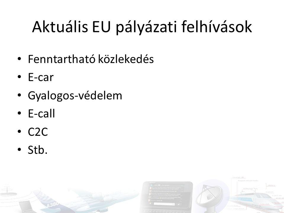 Aktuális EU pályázati felhívások Fenntartható közlekedés E-car Gyalogos-védelem E-call C2C Stb.