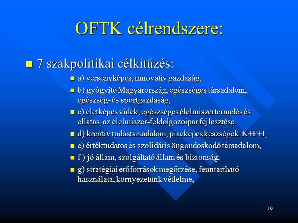 OFTK célrendszere: 7 szakpolitikai célkitűzés: 7 szakpolitikai célkitűzés: a) versenyképes, innovatív gazdaság, a) versenyképes, innovatív gazdaság, b