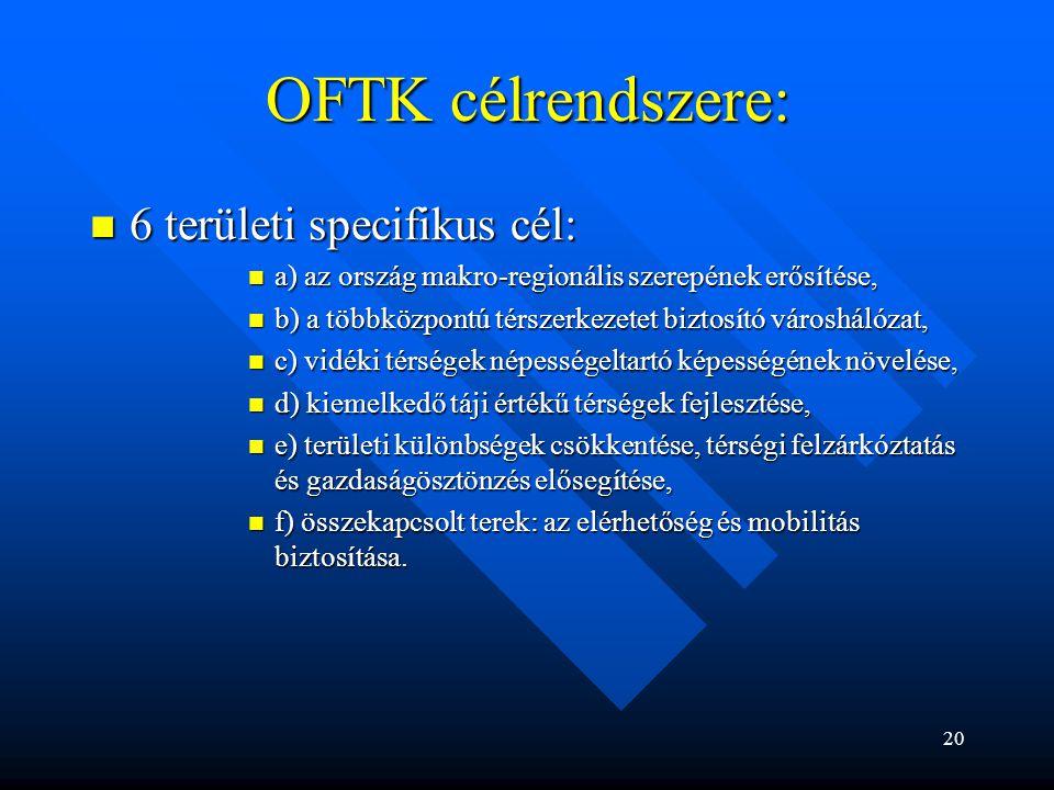 OFTK célrendszere: 6 területi specifikus cél: 6 területi specifikus cél: a) az ország makro-regionális szerepének erősítése, a) az ország makro-region