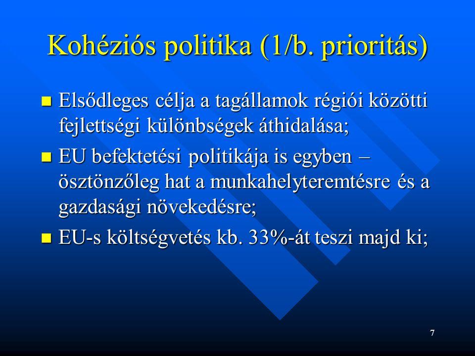 Kohéziós politika (1/b. prioritás) Elsődleges célja a tagállamok régiói közötti fejlettségi különbségek áthidalása; Elsődleges célja a tagállamok régi