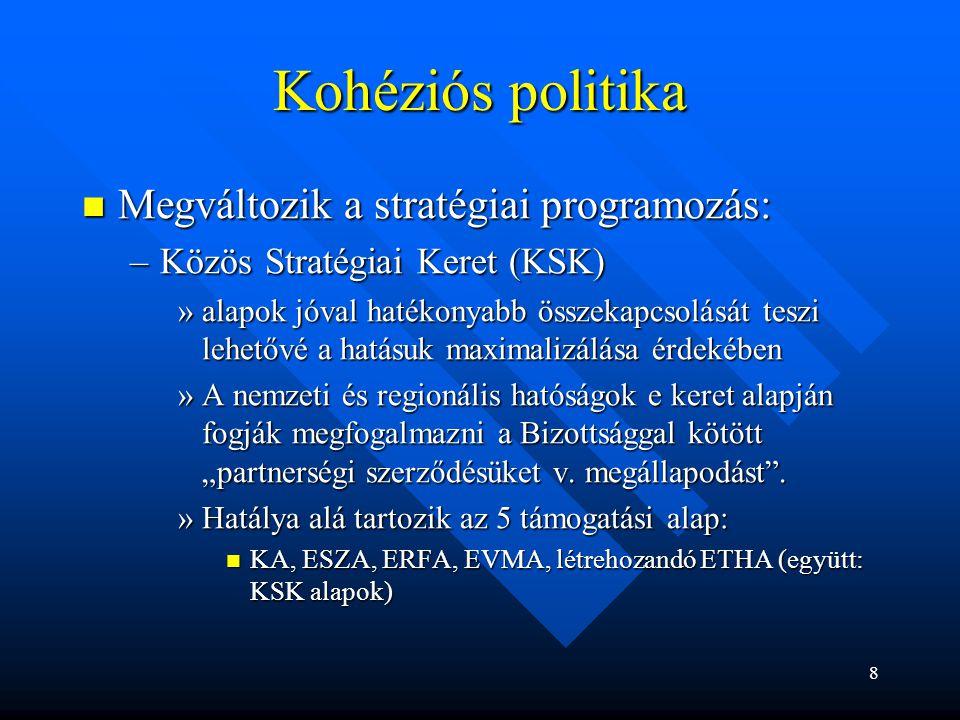 Kohéziós politika Megváltozik a stratégiai programozás: Megváltozik a stratégiai programozás: –Közös Stratégiai Keret (KSK) »alapok jóval hatékonyabb