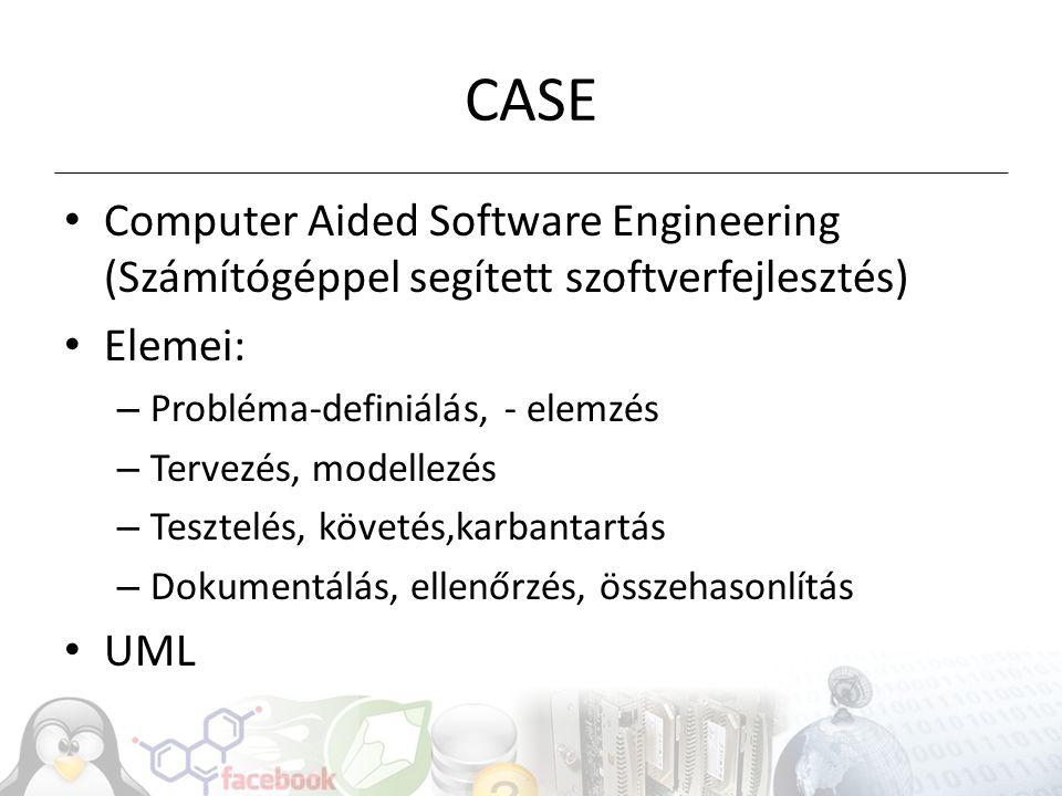CASE Computer Aided Software Engineering (Számítógéppel segített szoftverfejlesztés) Elemei: – Probléma-definiálás, - elemzés – Tervezés, modellezés –