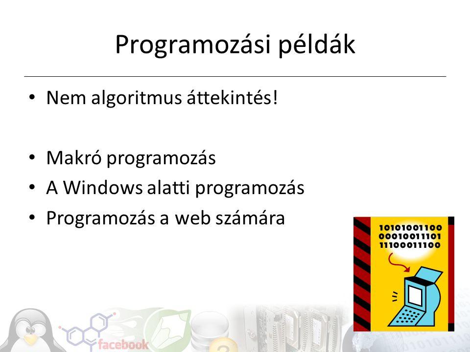 Programozási példák Nem algoritmus áttekintés! Makró programozás A Windows alatti programozás Programozás a web számára