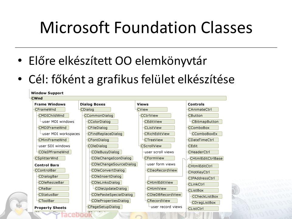 Microsoft Foundation Classes Előre elkészített OO elemkönyvtár Cél: főként a grafikus felület elkészítése