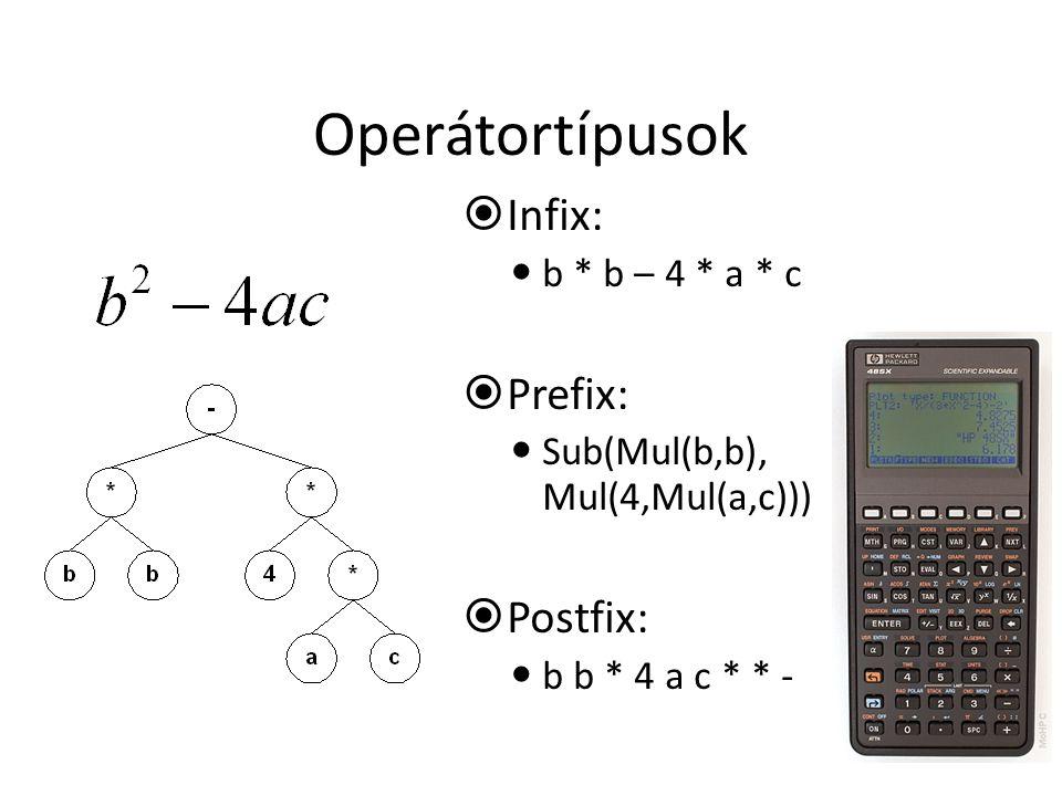 Operátortípusok  Infix: b * b – 4 * a * c  Prefix: Sub(Mul(b,b), Mul(4,Mul(a,c)))  Postfix: b b * 4 a c * * -