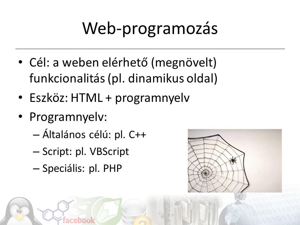 Web-programozás Cél: a weben elérhető (megnövelt) funkcionalitás (pl. dinamikus oldal) Eszköz: HTML + programnyelv Programnyelv: – Általános célú: pl.