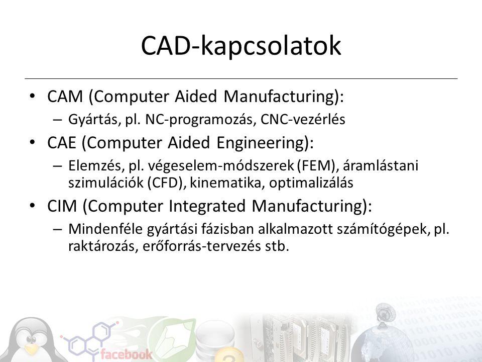 CAD-kapcsolatok CAM (Computer Aided Manufacturing): – Gyártás, pl. NC-programozás, CNC-vezérlés CAE (Computer Aided Engineering): – Elemzés, pl. véges