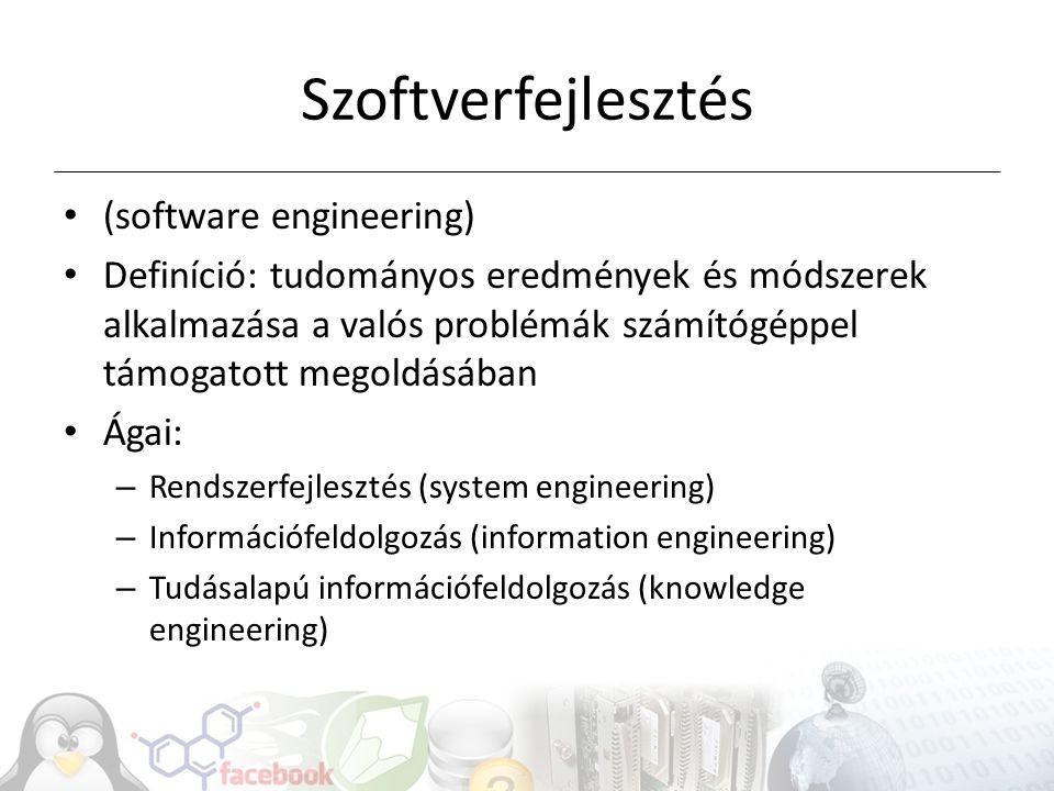 Szoftverfejlesztés (software engineering) Definíció: tudományos eredmények és módszerek alkalmazása a valós problémák számítógéppel támogatott megoldá