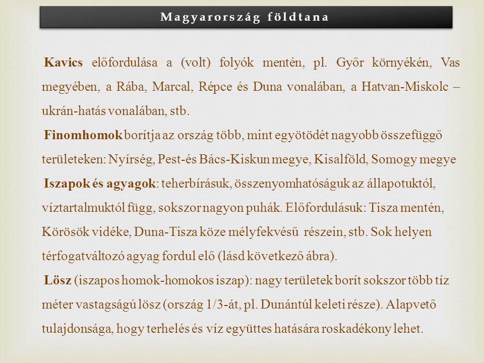 Magyarország földtana Kavics előfordulása a (volt) folyók mentén, pl. Győr környékén, Vas megyében, a Rába, Marcal, Répce és Duna vonalában, a Hatvan-