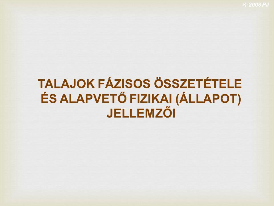 © 2008 PJ TALAJOK FÁZISOS ÖSSZETÉTELE ÉS ALAPVETŐ FIZIKAI (ÁLLAPOT) JELLEMZŐI